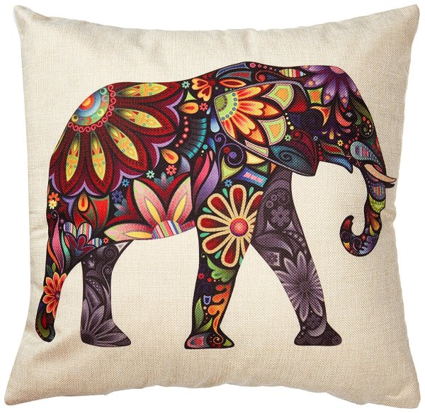 Color Flower Elephant Burlap Pillow Cases