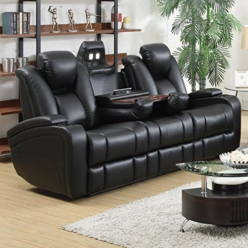 Sofa with Power Headrest, Storage Arms, Drop Down Console, Power Outlet LED