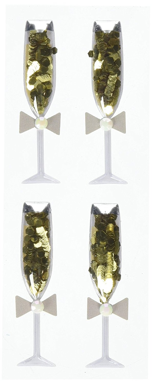 Boutique Dimensional Stickers, Champagne Glasses