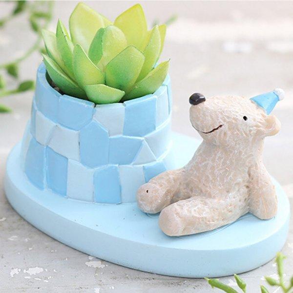 Cute Bear Succulent Pots with Drainage Resin Mini Flower Pot Garden
