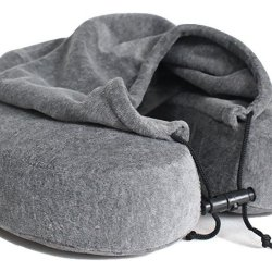 Memory Foam Neck Travel Pillow with Hoodie Luxury Quality Memory Foam Neck Travel Pillow with Hoodie. Stylish Carry Bag. Premium Velvet. Washable Zippered Cover. Scientifically Proven U Shaped Neck Pillow. Business Traveler Gifts. (Gray).