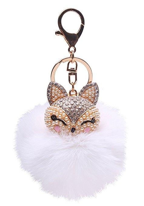 Real Fox Fur Ball Key Chain