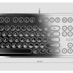 Retro USB Typewriter Inspired Mechanical Keyboard Azio Mk Retro USB Typewriter Inspired Mechanical Keyboard (Blue Switch).