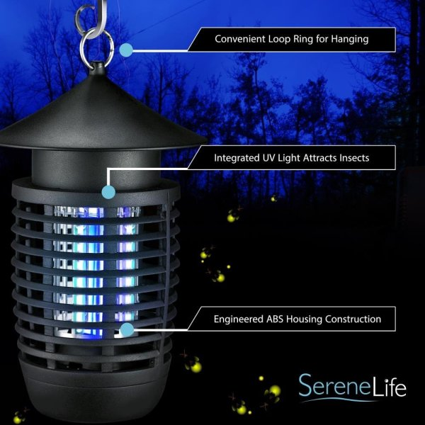 SereneLife UV Mosquito Trap, Battery Bug Zapper Outdoor