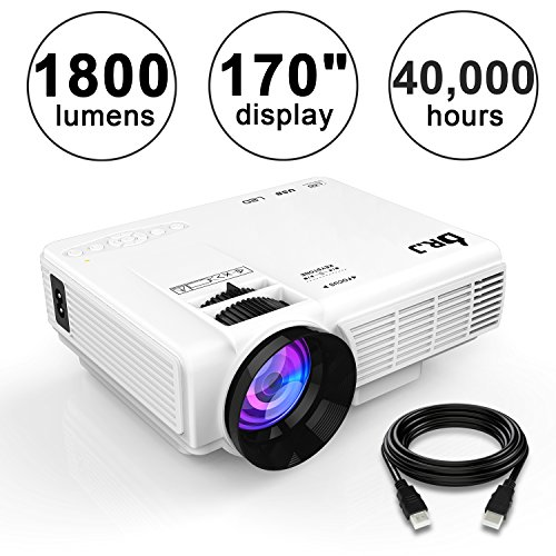 DR.J (Upgraded) 1800Lumens 4Inch Mini Projector with 170 Inch Display
