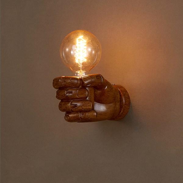 Art resin fist wall lamp