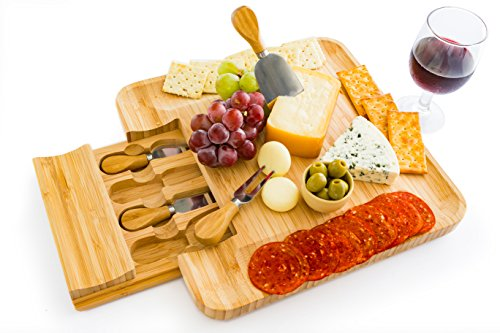 Charcuterie Platter and Serving Meat Board with Slide-out Drawer