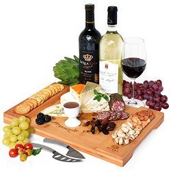 Unique Bamboo Cheese Board, Charcuterie Platter and Serving Tray