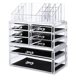 Makeup Organizer 8 Drawers Cosmetic Storage 3 Pieces Set Jewelry Display Case with 16 Top Compartments