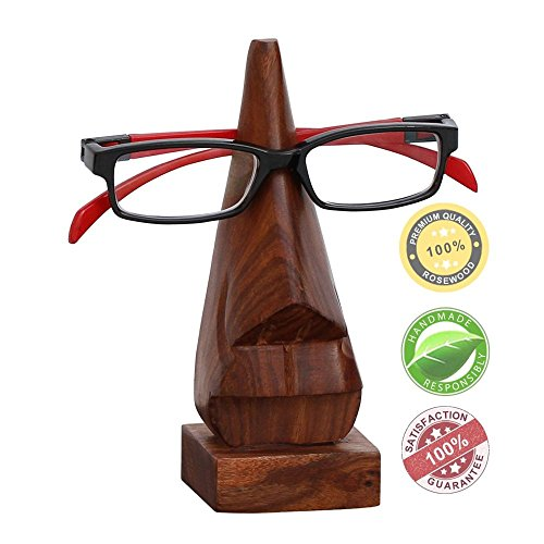 """SouvNear 6.5"""" Witty Wood Spectacle Holder - Wood Nose Premium Quality Eyeglass Holder"""