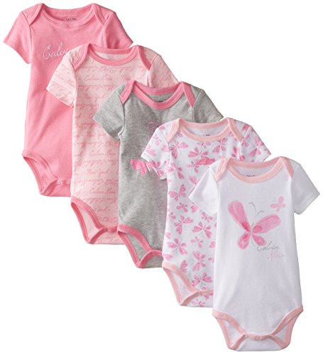 Calvin Klein Baby Girls' Assorted Short Sleeve Bodysuit, Gray/Pink Butterfly, 3-6 Months (Pack of 5)