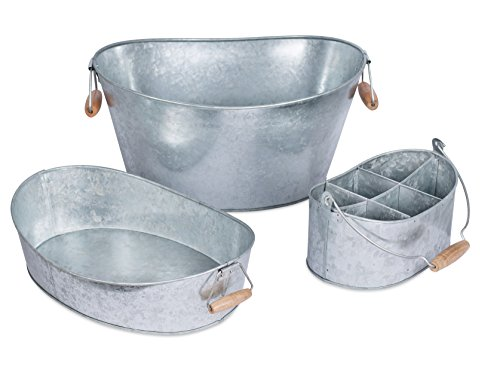 BirdRock Home Galvanized Beverage Tub, Caddy and Tray Set