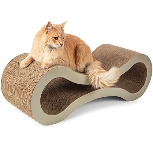 "Paws & Pals 32""x11""x11"" Inches Pet Cat Scratcher and Lounger – Beige"