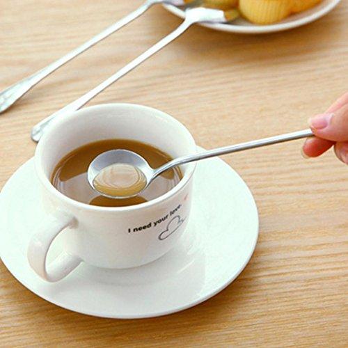 YJYdada Long Handle Tea Coffee Spoons Ice Cream Cutlery (A)