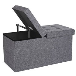 Fabric Storage Ottoman Bench with Lift Top, Storage Chest Foot Rest Stool