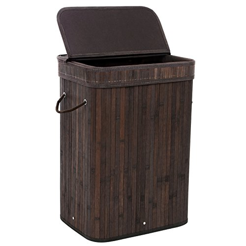 Bamboo Laundry Hamper Storage Basket Foldable Dirty Clothes Hamper with Lid Handles