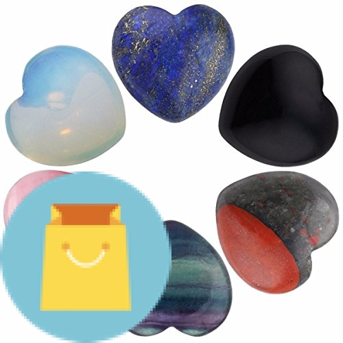 Assorted Stones Carved Puff Heart Pocket Stone, Healing Palm Crystal