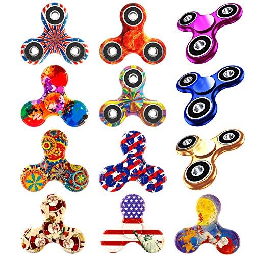 12 Pack Fidget Spinner, EDC Hand Tri-Spinner Fidget Stress Relief Toys