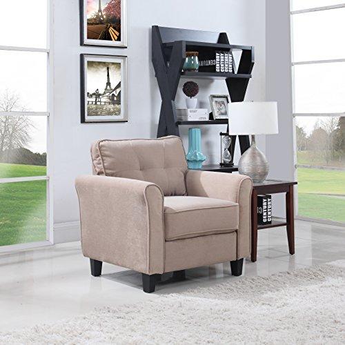 Classic Brush Microfiber Fabric Living Room Accent Chair (Hazelnut)