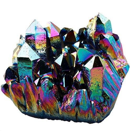 Rainbow Aura Titanium Coated Crystal Cluster