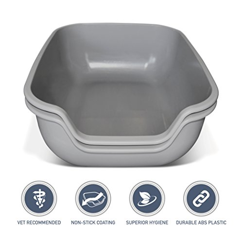 PetFusion LARGE Cat Litter Pan (the BetterBox set of 2). NON-STICK COATING