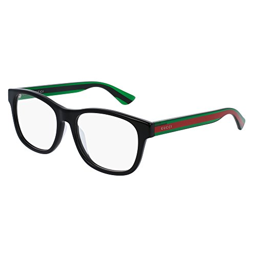 Gucci Asian Fit Black Plastic Square Eyeglasses 55mm