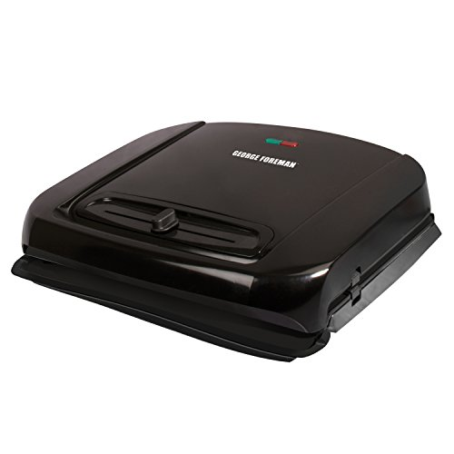 George Foreman 6-Serving Removable Plate Grill and Panini Press with Adjustable Temperature, Black