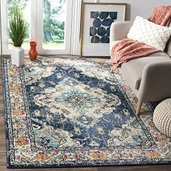 Safavieh Monaco Collection Vintage Bohemian Navy and Light Blue Distressed Area Rug (8' x 10')
