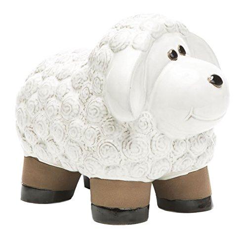 Alfresco Home Ceramic Lamb Figurine, Medium, Lace White