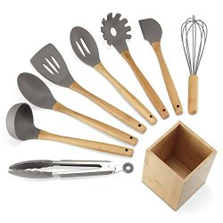 NEXGADGET Premium Silicone Kitchen Utensils 9-Piece Cooking Utensils Set with Bamboo Wood Handles