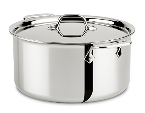 All-Clad Stainless Steel Tri-Ply Bonded Dishwasher Safe Stockpot with Lid / Cookware, Silver