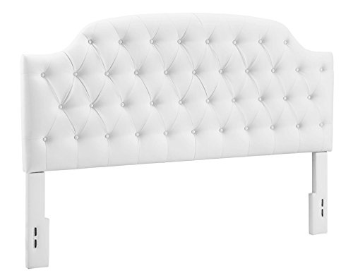 Dorel Living Lyric Button Tufted Faux Leather Headboard, King, White