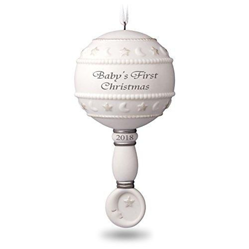 Hallmark Keepsake 2018 Baby's First Rattle Year Dated Porcelain Christmas Ornament