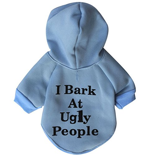 """Scheppend """"I Bark at Ugly People"""" Printed Pet Dog Hoodies Coat Puppy Clothes"""