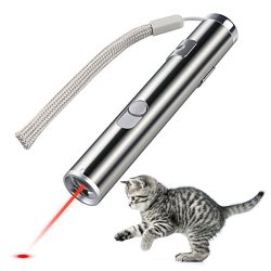 Creaker 2 in 1 Multi Function Funny Cat Chaser Toys, Mini Flashlight & Interactive Pet Toys Cat Light Pointers Cat Training Tool (USB Rechargable)