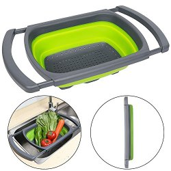 Qimh Colander collapsible Over The Sink Vegtable/Fruit Colander Strainer With Extendable Handles(Green)