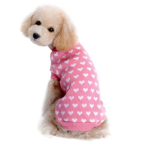 """Kuoser Autumn Winter cute Dog Sweater with Lovely Heart pattern Pink Knitwear Dog clothes pet sweater (L(Back: 11.4"""" Neck : 11"""" Chest : 14.6""""))"""