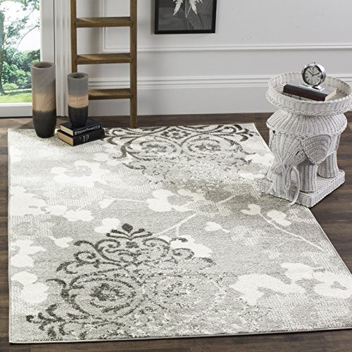 Safavieh Adirondack Collection Silver and Ivory Contemporary Chic Damask Square Area Rug (8' Square)