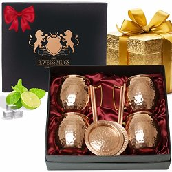 B.WEISS Moscow Mule Copper Mugs Gift Set Of 4, All Inclusive Set