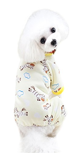 Scheppend Cozy Pet Pajamas for Small Dogs Thick Onesie Jumpsuits Soft Puppy Coat Cat Clothes, Yellow Zebra L.