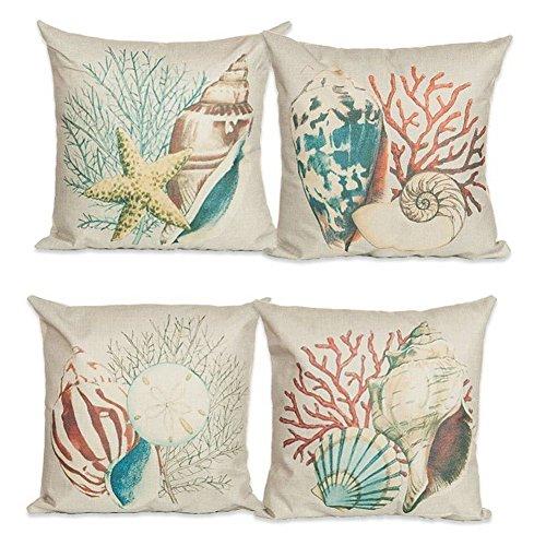 CJESLNA 4 Pack Ocean Theme Squre Cotton Linen Throw Pillow