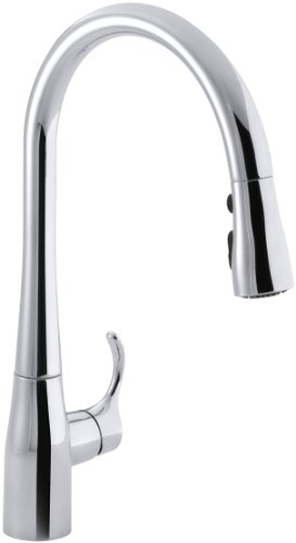 KOHLER Simplice Single-Hole Pull-down Kitchen Faucet, Polished Chrome