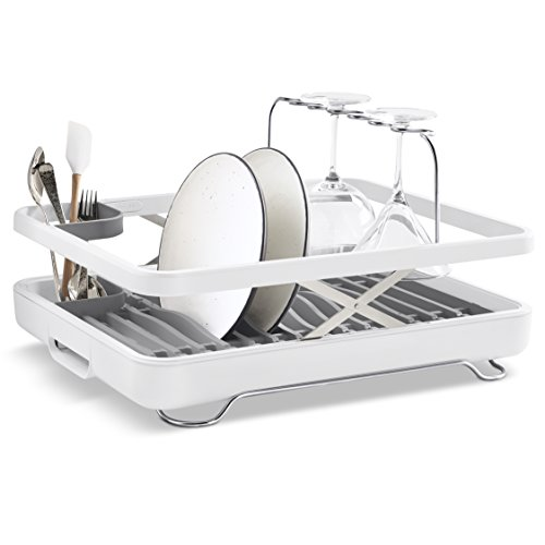 KOHLER Large Collapsible & Storable Dish Drying Rack with Wine Glass Holder