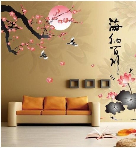 Generic All River Into the Sea Plum Blossom Lotus Flowers Removable Wall Sticker
