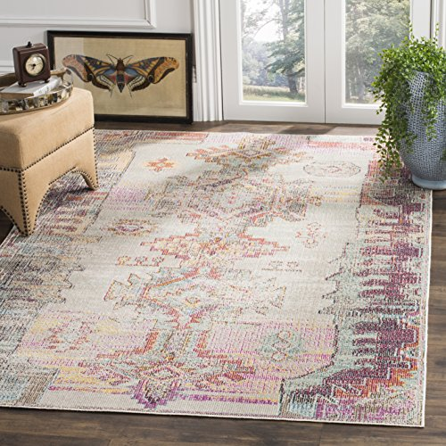 Safavieh Crystal Collection Light Grey and Purple Distressed Bohemian Area Rug (3' x 5')
