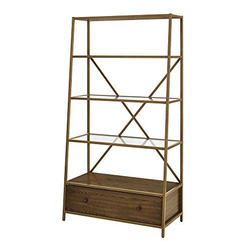 Dorel Living Moriah Pyramid Bookcase Etagere, Brass