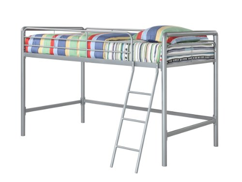 DHP Junior Loft Bed Frame With Ladder, Multifunctional Space-Saving Design, Silver