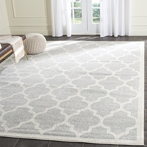 Safavieh Amherst Collection Light Grey and Beige Indoor/ Outdoor Square Area Rug (9' Square)