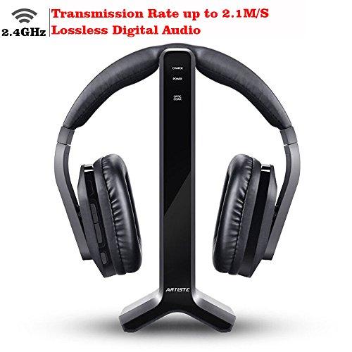 D1 Wireless TV Headphone 2.4GHz Digital Transmitter Charging Dock