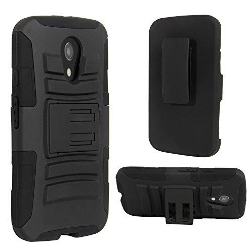 Motorola G (2nd Generation) Case, E LV Moto G (2nd Gen. 2014) Holster Case Cover with Belt Swivel Clip 2014 with 1 Stylus - BLACK
